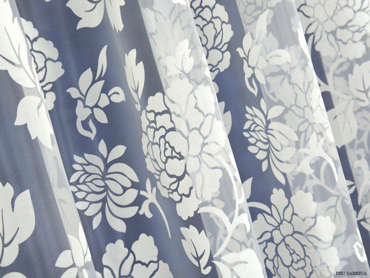 Elegancka Firana W Duże Kwiaty Organtyna Wypalana Bellis Krem 290