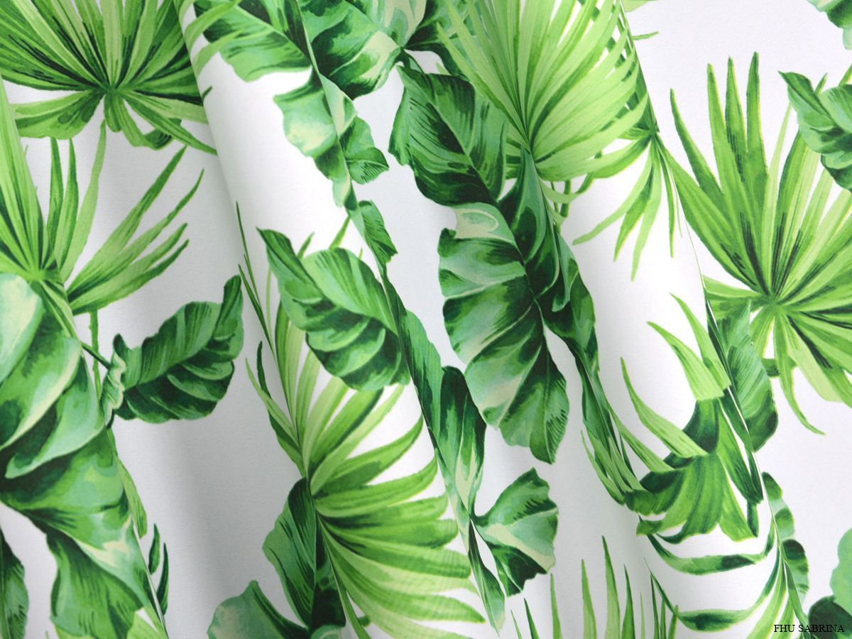 Satynowo żakardowa Tkanina Zasłonowa W Liście Palmowe Flora 160