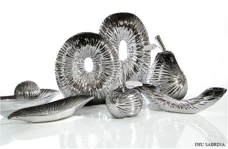 Figurka Dekoracyjna Ombrefig01 Gruszka Srebro