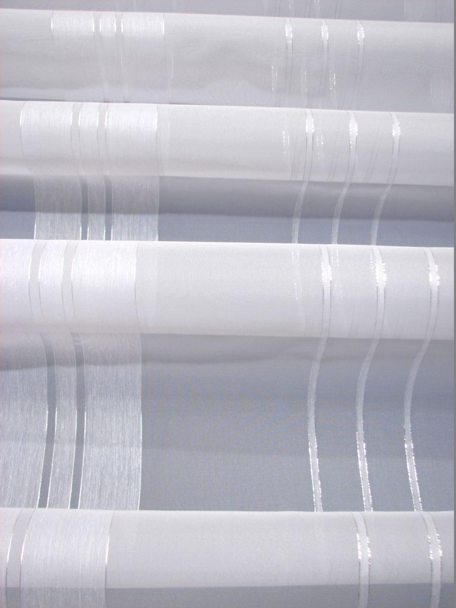 Firany Z Woalu Woal W Biało Srebrne Pasy Silver 290
